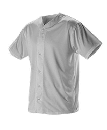 Alleson Baseball Jersey - Alleson Adult Full Button Lightweight Baseball Jersey Grey S 52MBFJ 52MBFJ-GR-S