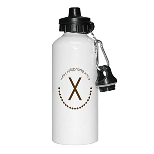 (Style In Print Brown Alphabet X, X Ray, Xylophone XOXO Aluminun White Water Bottle)