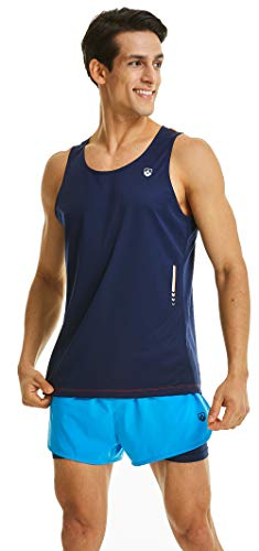 - Leevy Running Singlet for Men Ultra Lightweight Beach Tank Top Dry Fit Sleeveless Workout Shirt(US X-Small=Tag L Night Blue)