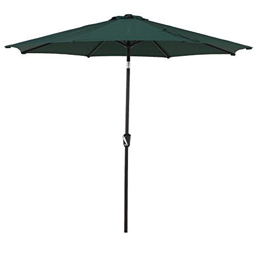 Grand patio 9FT, 8 Ribs Aluminum Patio Umbrella with Auto Crank and Push Button Tilt, UV Protective Beach Umbrella, Powder Coated Outdoor Umbrella, Green -