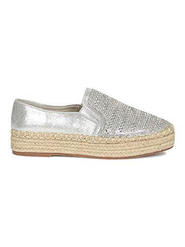 (Alrisco Women Rhinestone Embellished Espadrille Slip On Flatform Sneakers RG19 - Silver Metallic (Size: 10))