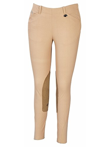 Equine Couture Women's Coolmax Champion Side Zip Breech with Euroseat, Safari, - Riding Zip Breeches Side