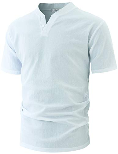 (OHOO Mens Casual Short Sleeve Linen and Cotton Lightweight V-Neck Henley T Shirts with Button Style/DCT094-WHITE-S)