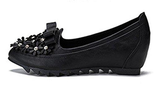 NEWZCERS Flor de moda casual con estilo rhinestone zapatos de cuña interior talón para las mujeres negro