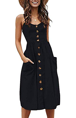 Halife Womens Summer Dresses Casual Spaghetti Strap Floral Button Down Swing Midi Dress with Pockets