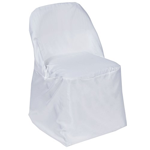 BalsaCircle 50 pcs White Folding Round Polyester Chair Covers for Party Wedding Linens Decorations Dinning Ceremony Reception Supplies