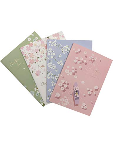 What's Fun B5 Theme Designed Softcover College Ruled Notebook/Composition/Journals/Dairy/Office Note Books Set of 4 Per Pack (Cherry Blossom Rain)