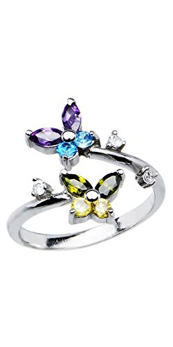925 Sterling Silver Toe Ring Butterfly CZ. Size Adjustable