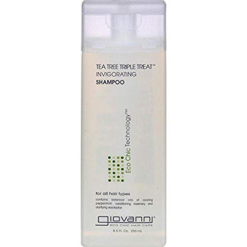 Giovanni Invigorating Shampoo Organic Tea Tree Triple Threat with Aloe Vera, Lavender, Rosemary and Sage, for All Hair Types, 8.5 Fl. Oz.