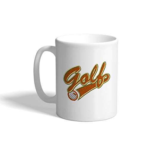 - Ceramic Funny Coffee Mug Coffee Cup Sport Golf Vintage Logo White Tea Cup 11 Ounces