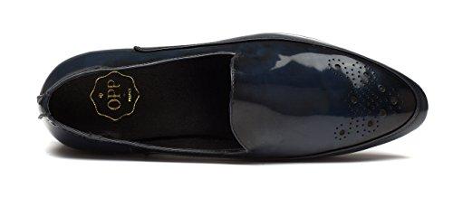 OPP Piel Flats de Zapatos Zapatos Hombres Azul de vestir w1Rqf1