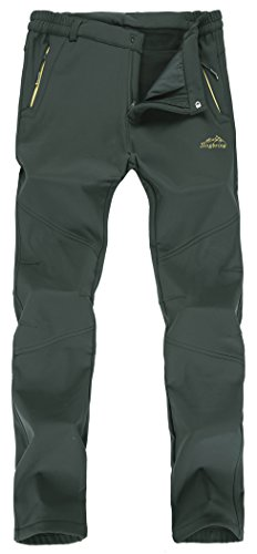 Singbring Men's Outdoor Waterproof Hiking Pants Windproof Ski Pants Medium Agreen(026F) (Hiking Pants Waterproof)