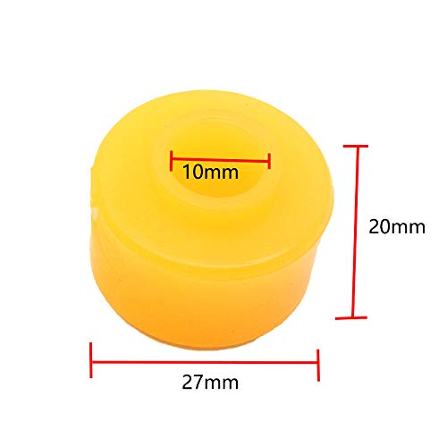 Sydien 20Pcs Vehicle Car Rubber Shock Absorber Bushings Damper Replacement Yellow 10mm x 27mm x 20mm