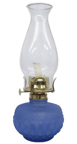 Glo Brite by 21st Century L399BL Diamond Lite Glass Oil Lamp, Blue by Glo-Brite