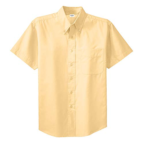 (Clothe Co. Mens Short Sleeve Wrinkle Resistant Easy Care Button Up Shirt, Yellow, 4XL)