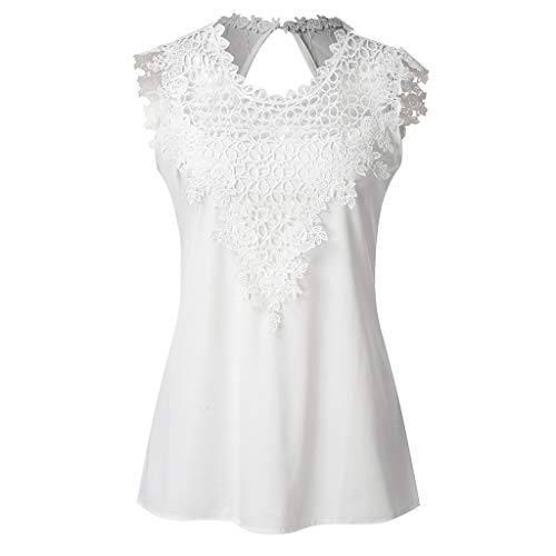 Women Lace Floral Hollow Out Sleeveless Blouse Tops O-Neck Ladies Elegant Open Back Solid Casual T Shirts Amiley (2XL, White)