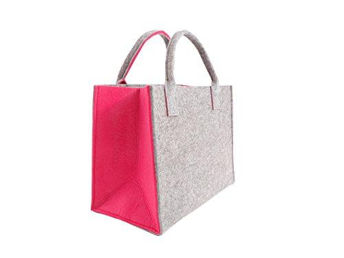 CB Home & Style - Bolso de tela de Fieltro para mujer Hellgrau-Pink