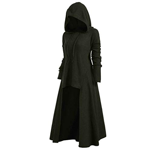 Womens Gothic Punk Asymmetric Hem Long Sleeve Loose Hoodies Dress Cloak Costumes Vintage High Low Sweatshirts Tunic Tops (Green, XL)