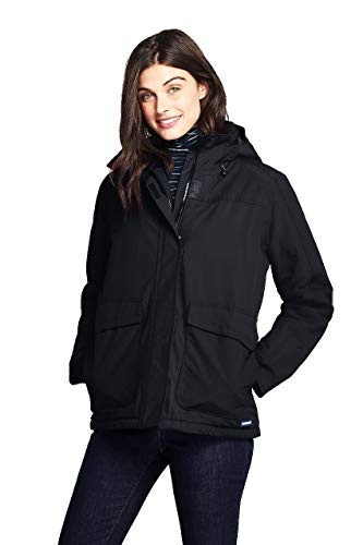 (Lands' End Women's Hooded Squall Winter Jacket, M, Black)