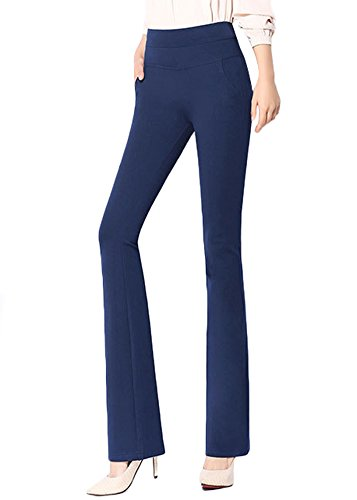 ABCWOO Womens Stretch Dress Pants for Office Work Ladies High Waisted Ankle Trousers Petite Pull-On Bootcut Slacks,Blue,US Size 12-14