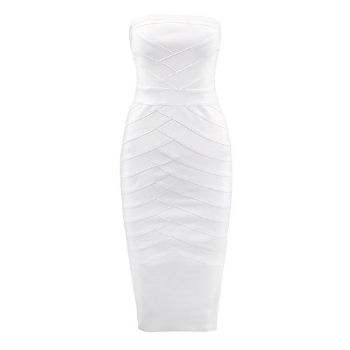 Fashion HLBandage Women Strapless Rayon Weiß Strip Cross Dress Knee 2018 Length Bandage wp7pOqTt