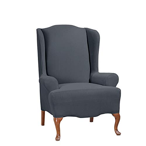 SureFit Stretch Morgan - Wing Chair Slipcover - Storm Blue