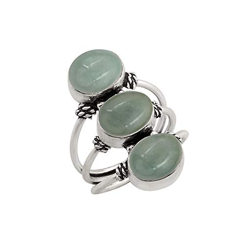925 Silver Plated Genuine Oval Shape Aquamarine Three Stone Ring Vintage Style Handmade for Women Girls (Size-12)