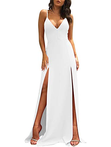 TOB Women's Sexy Sleeveless Spaghetti Strap Backless Split Cocktail Long Dress White