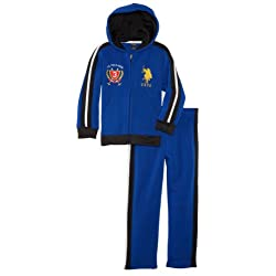U.S. Polo Assn. Little Boys' Two-Piece Sporty Fleece Hoodie and Matching Fleece Pant