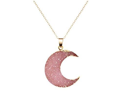 Pizazz Studios Faux Druzy Moon Pendant Necklace - Pink
