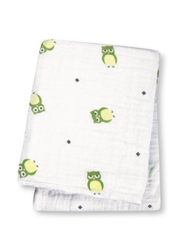 Lulujo Baby Cotton Muslin Swaddle Blanket, Owl Always Love You, 47 x 47-Inch