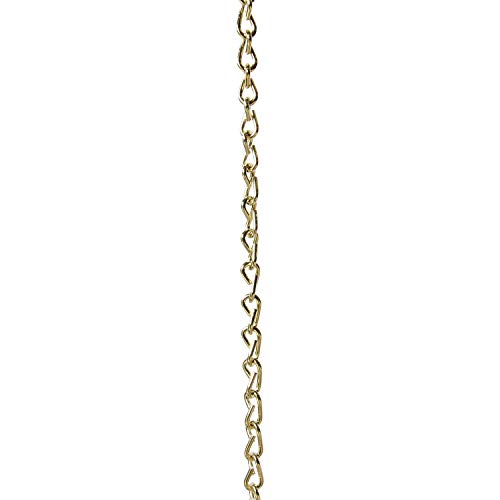 RCH Hardware CH-S51-16-PB-3 | 14 Gauge Decorative Solid Steel Double Jack Fixture Chain | 3 Foot Increments | Polished Brass Finish
