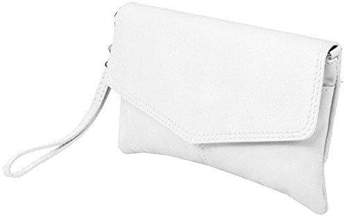 JosyJoe «Sarandon» Clutch/ bolso de noche de piel auténtica, el color:Gris Blanco
