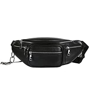 Fashion Women Waist Bag Casual PU Leather Chain Bags Zipper Chest Chest Bags Travel Fanny Pack