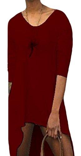 Vestito Vino V donne Profondo Patchato Coolred Volant Occidentale Rosso Base Solido Scollo A Di TPwzY