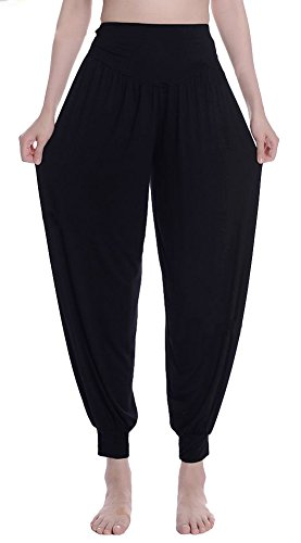 Urban CoCo Womens' Solid Color Soft Elastic Waistband Fitness Yoga Harem Pants (Large, Black)