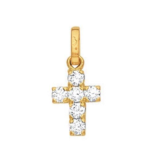 So Chic Bijoux © Pendentif Croix Oxyde de Zirconium Or Jaune 750/000 (18 carats)