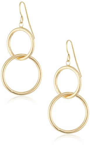 10k Yellow Gold Double Circle Dangle Earrings 10k Gold Drop Earrings