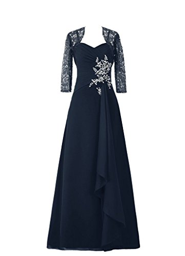 Promshow Women's Rushes Lace Sleeve mother of the bride D...