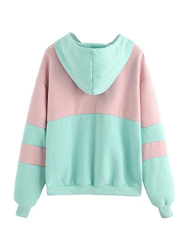 SweatyRocks Womens Long Sleeve Colorblock Pullover Fleece Hoodie Sweatshirt Tops