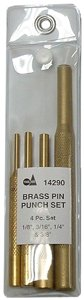S&G Tool Aid 14290 4-Piece Pin Punch Set, Brass