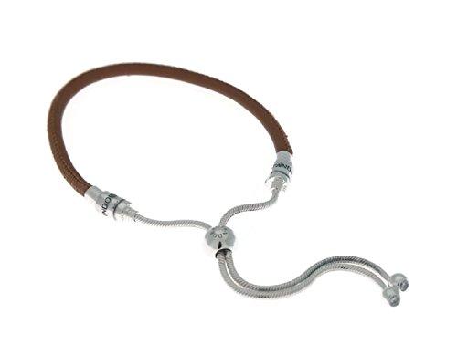 Pandora Sliding Golden Tan Leather Bracelet with Clear CZ 597225CGT2 ()