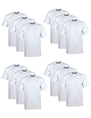 - Pro Club Men's 12-Pack Heavyweight Cotton Short Sleeve Crew Neck T-Shirt, White, 3X-Large