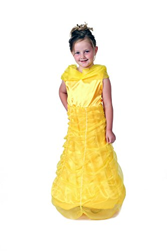 [Girls Yellow Storybook Princess Dress with Hoop Size 4/6] (5 Girl Halloween Costumes)