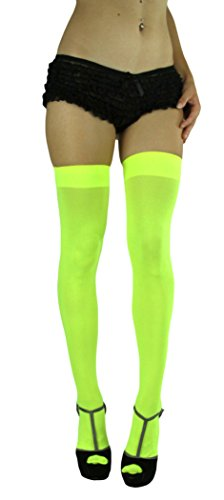 - ToBeInStyle Women's Long Schoolgirl Stockings (Neon Yellow)