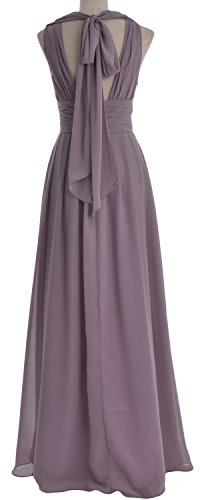 MACloth Women V neck Chiffon Long Bridesmaid Dress Wedding Party Formal Gown (22w, Wine Red)