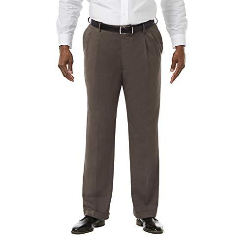 (Haggar Men's Big and Tall Premium Stretch Solid Gabardine Expandable Waist Pleat Front Dress Pant, Medium Brown, 56Wx30L)