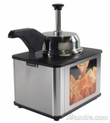 Server Products FSPW-SS-81140 Topping Warmer with Heated Pump Spout, 3 Magnetic Merchandising Signs for Cheese Fudge and Caramel, Steel