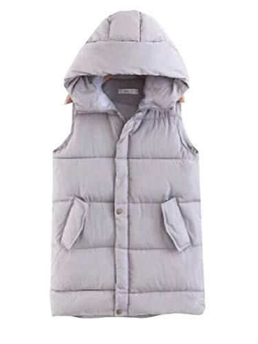 Gery Hoodie Vest Thicken Puffer Womens Jacket Outdoors EKU Quilted Winter ZUzOvnS