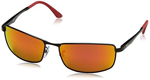 Ray-Ban Men's Metal Man Polarized Iridium Rectangular Sunglasses, Matte Black, 61 mm